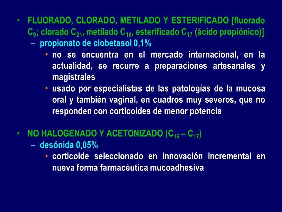 FLUORADO, CLORADO, METILADO Y ESTERIFICADO [fluorado C9; clorado C21, metilado C16, esterificado C17 (ácido propiónico)]